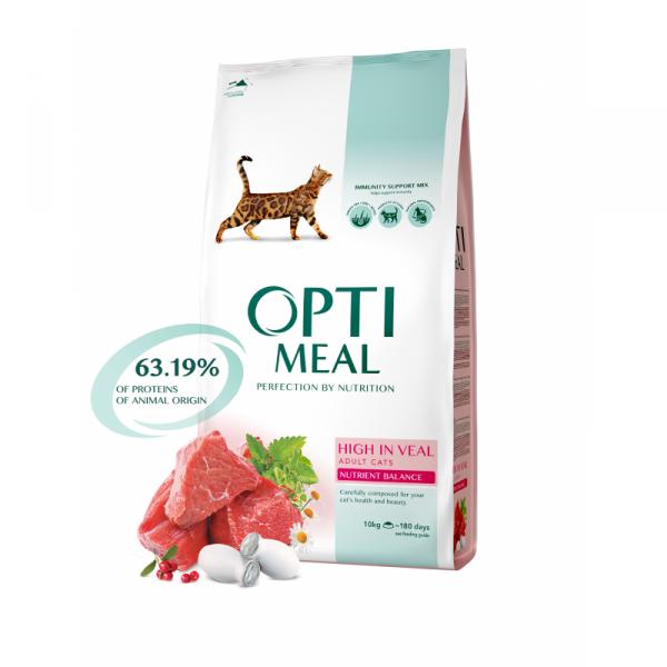 OPTIMEAL pre mačky s vysokým obsahom teľaciny 10kg